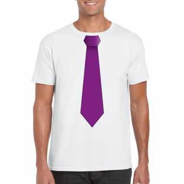 Wit t shirt paarse stropdas heren