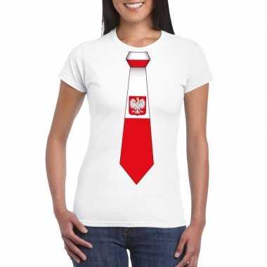 Wit t shirt polen vlag stropdas dames