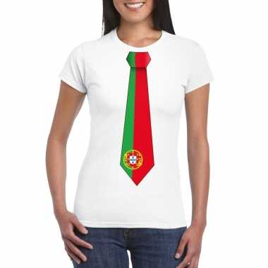 Wit t shirt portugal vlag stropdas dames