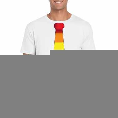 Wit t shirt regenboog vlag stropdas heren