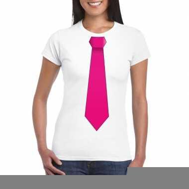 Wit t shirt roze stropdas dames