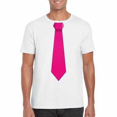 Wit t shirt roze stropdas heren