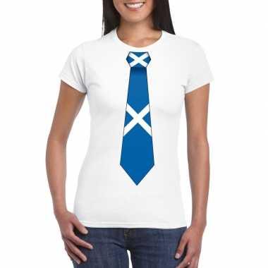 Wit t shirt schotland vlag stropdas dames