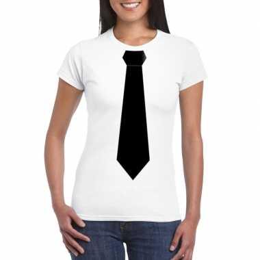Wit t shirt zwarte stropdas dames