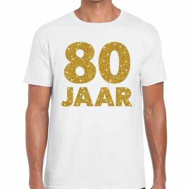 Wit tachtig jaar verjaardag shirt heren gouden bedrukking