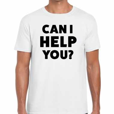 Wit tekst shirt can i help you bedrukking heren
