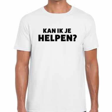 Wit tekst shirt kan ik je helpen bedrukking heren