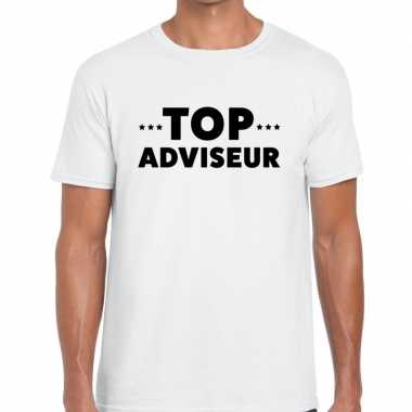 Wit tekst shirt top adviseur bedrukking heren