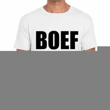 Wit tekst t shirt boef bedrukking heren