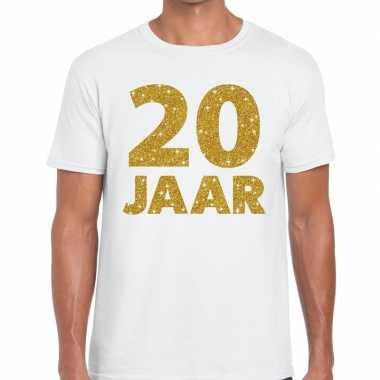 Wit twintig jaar verjaardag shirt heren gouden bedrukking