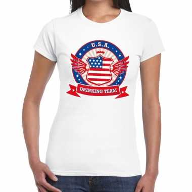 Wit usa drinking team t shirt dames