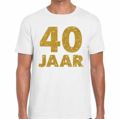Wit veertig jaar verjaardag shirt heren gouden bedrukking