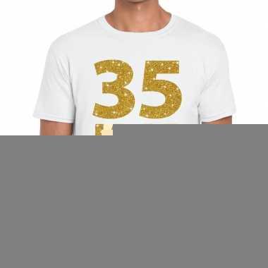 Wit vijfendertig jaar verjaardag shirt heren gouden bedrukking