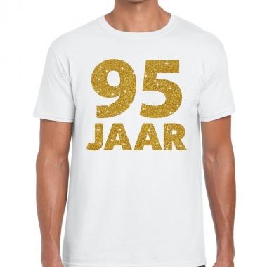 Wit vijfennegentig jaar verjaardag shirt heren gouden bedrukking