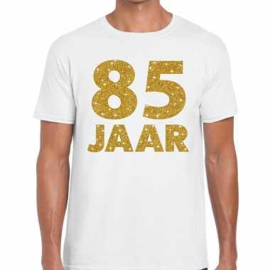 Wit vijfentachtig jaar verjaardag shirt heren gouden bedrukking