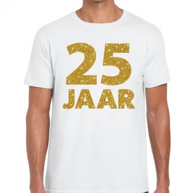 Wit vijfentwintig jaar verjaardag shirt heren gouden bedrukking