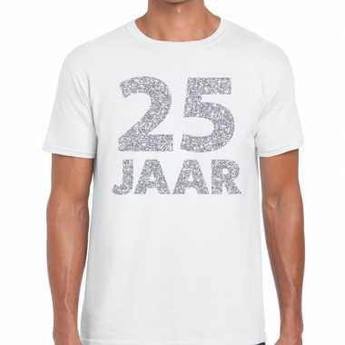 Wit vijfentwintig jaar verjaardag shirt wit heren zilveren bedrukking