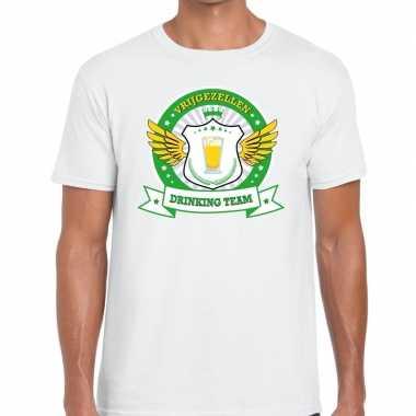 Wit vrijgezellenfeest drinking team t shirt groen geel heren
