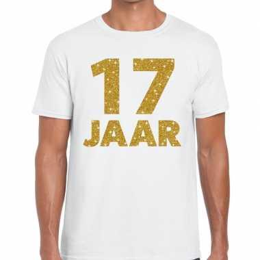 Wit zeventien jaar verjaardag shirt heren gouden bedrukking