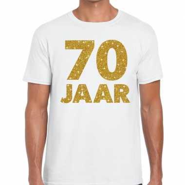 Wit zeventig jaar verjaardag shirt heren gouden bedrukking