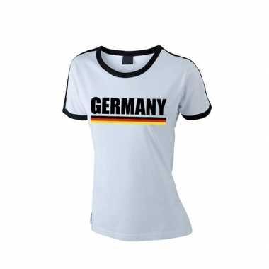 Wit/ zwart duitsland supporter ringer t shirt dames