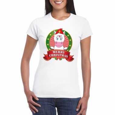 Witte eenhoorn kerst t shirt dames merry christmas