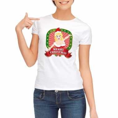 Witte kerst t shirt dames merry christmas