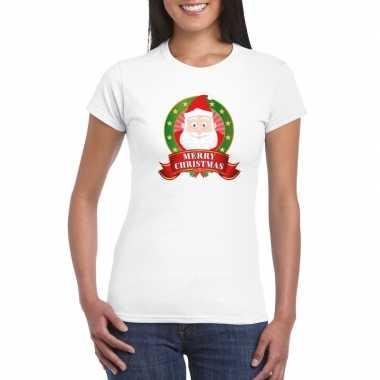 Witte kerst t shirt kerstman print dames merry christmas