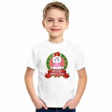 Witte kerst t shirt kinderen eenhoorn