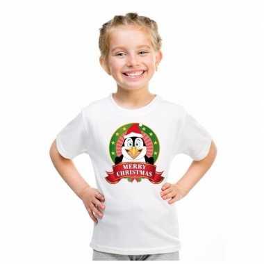 Witte kerst t shirt kinderen pinguin