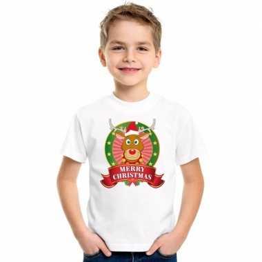 Witte kerst t shirt kinderen rendier