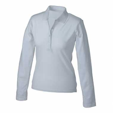Witte stretch poloshirts dames