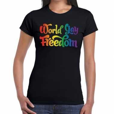 World gay freedom gaypride shirt zwart dames