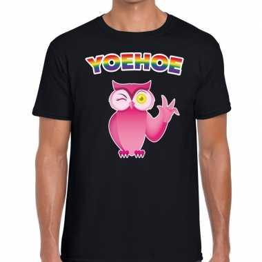 Yoehoe gay pride knipogende roze uil t shirt zwart heren