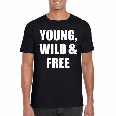 Young wild and free tekst t-shirt zwart heren