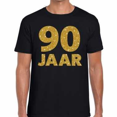 Zeart negentig jaar verjaardag shirt zwart heren gouden bedrukking