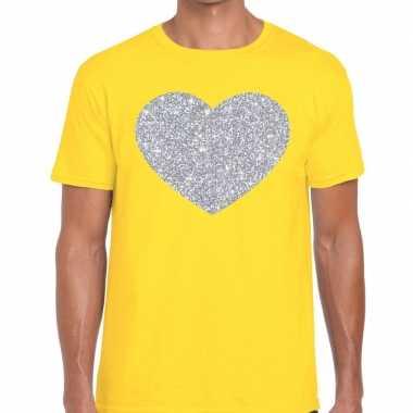 Zilver hart glitter fun t shirt geel heren