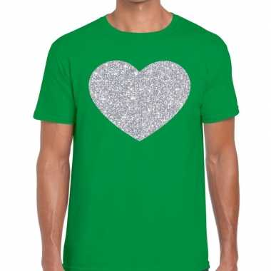 Zilver hart glitter fun t shirt groen heren