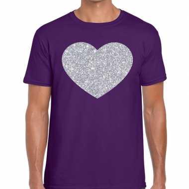 Zilver hart glitter fun t shirt paars heren