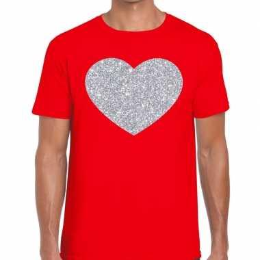 Zilver hart glitter fun t shirt rood heren