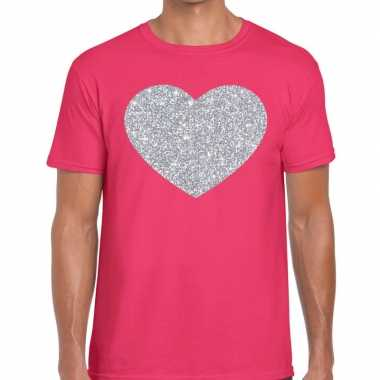 Zilver hart glitter fun t shirt roze heren