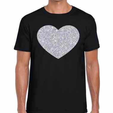 Zilver hart glitter fun t shirt zwart heren