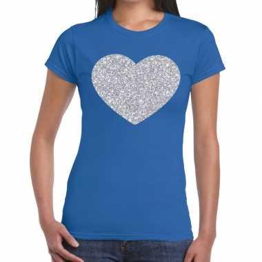 Zilveren hart glitter t shirt blauw dames