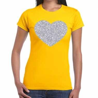 Zilveren hart glitter t shirt geel dames