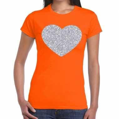 Zilveren hart glitter t shirt oranje dames