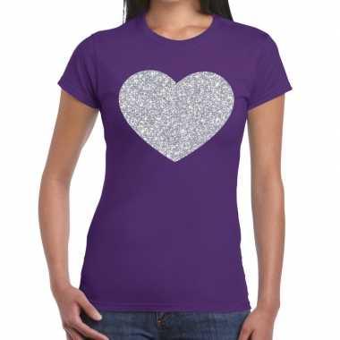 Zilveren hart glitter t shirt paars dames