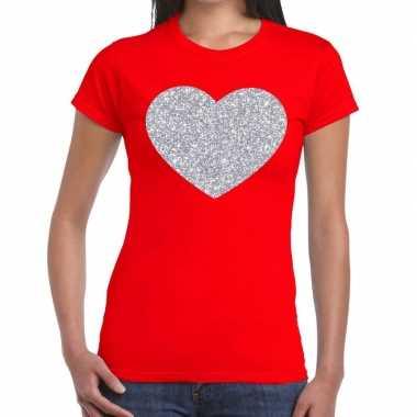 Zilveren hart glitter t shirt rood dames