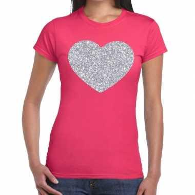 Zilveren hart glitter t shirt roze dames