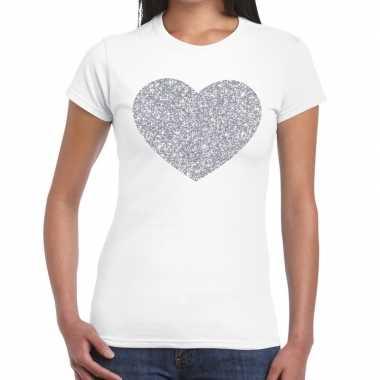 Zilveren hart glitter t shirt wit dames