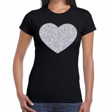 Zilveren hart glitter t shirt zwart dames